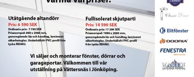 Erbjudande: Fönster och dörrar till riktigt varma vårpriser!